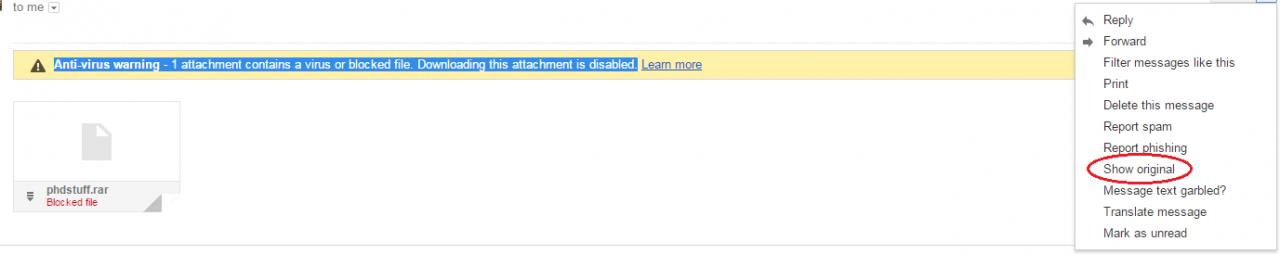 下载被屏蔽的gmail附件 Retrieving Gmail blocked attachments