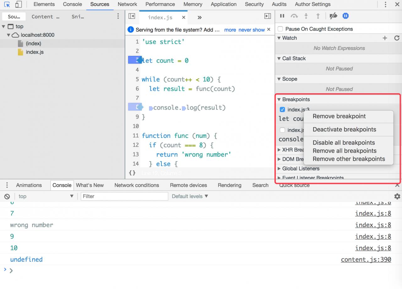 Chrome设置断点的各种姿势, js断点调试心得, Chrome DevTools 中调试 JavaScript 入门