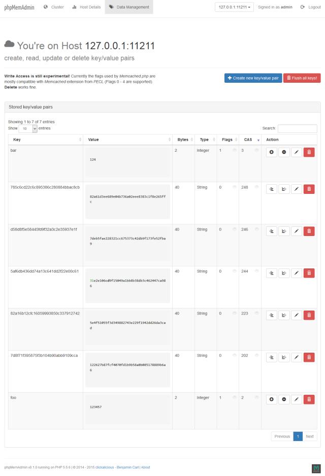 Memcached数据库管理, 基于Web的Memcached管理工具:phpMemAdmin
