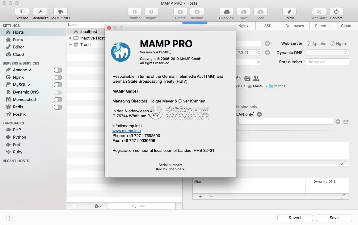 MAMP Pro for Mac 永久破解, PHP/MySQL开发环境 for Mac, MAMP Pro 5.5 for Mac破解