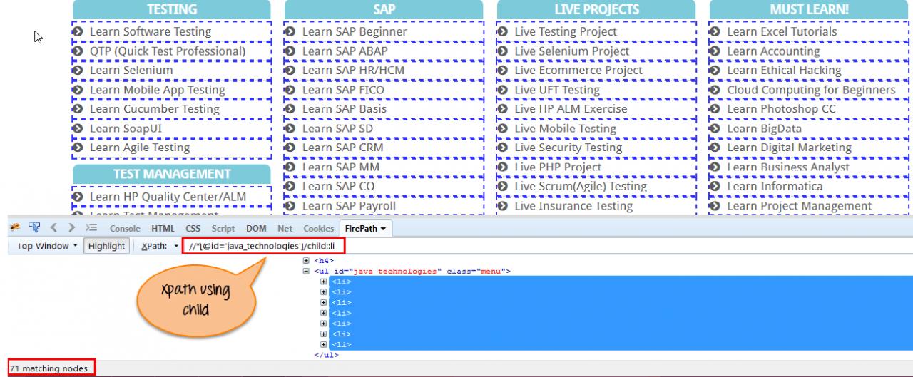 Selenium WebDriver中的XPath:完整教程, Xpath cheatsheet, XPath教程, XPath用法详解