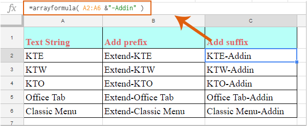 如何在Google表格的单元格值中添加前缀或后缀?, How To Add Prefix Or Suffix Into Cell Values In Google Sheets?