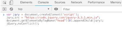 Chrome 运行jQuery, Chrome调试板运行jQuery,Run jQuery in Chrome Console,Include jQuery in the JavaScript Console